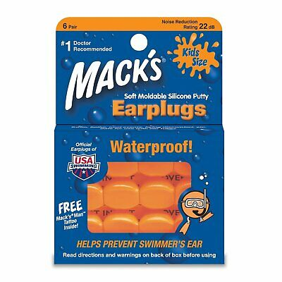 NEW Macks Moldable Silicone Ear Plugs, Kids Size, 6 Pair (Pack of 4)