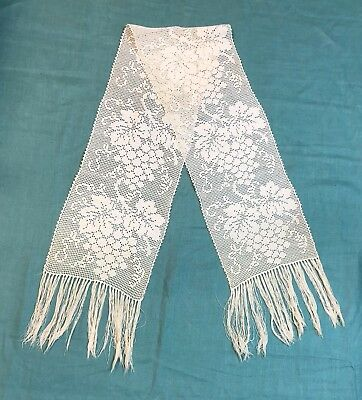 Antique Filet Crochet Lace Scarf Runner with Grape and Leaf Pattern Fringe