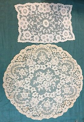 Antique French Alencon Lace Topper and Embroidered Net Lace Placemat