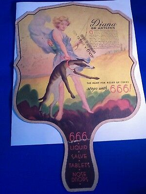 Vintage - Hand Held Fan Advertising - 666 Liq/tabs/salve
