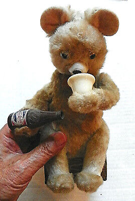 """1956 """"pepsi-Cola"""" Battery Operated Teddy Bear With Bottle"""