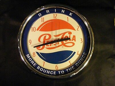 "Vintage Pepsi ""More Bounce To The Ounce"" 15"" Wall Clock Tested Works"