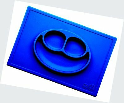 ezpz Happy Mat - One-piece silicone placemat + plate (Blue).