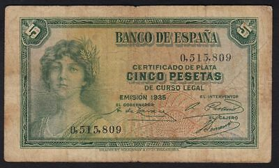 1935 5 Pesetas Spain Vintage Paper Money Banknote Currency Rare Antique Spanish
