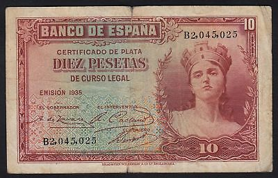 1935 10 Pesetas Spain Vintage Paper Money Banknote Currency Rare Antique Spanish