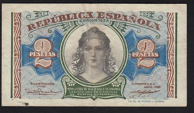 1938 2 Pesetas Spain Vintage Paper Money Banknote Currency Rare Antique Spanish