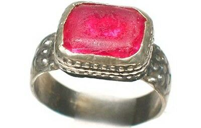 18thC Antique Russian Ukrainian Crimean Tatars Silver Ring Ruby Red Glass Sz 8¾