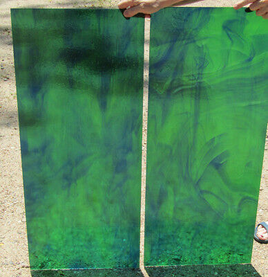 2 Beautiful Antique Stained Glass Panels Green with Blue Swirls