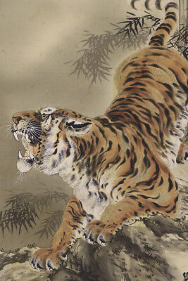 """JAPANESE HANGING SCROLL ART Painting """"Roaring Tiger"""" Asian antique  #E2890"""