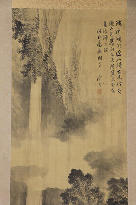 """JAPANESE HANGING SCROLL ART Painting Scenery """"Waterfall"""" Asian antique  #E2896"""