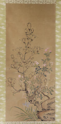 """JAPANESE HANGING SCROLL ART Painting """"Flowers"""" Asian antique  #E2892"""