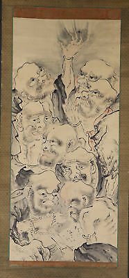 """JAPANESE HANGING SCROLL ART Painting """"Eight Arhats"""" Asian antique  #E2899"""