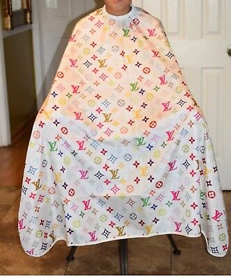 """White LV Barber hair cutting and styling cape 55""""X60"""""""