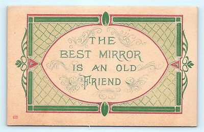 Postcard Greetings The Best Mirror is an Old Friend Arts & Crafts Style B39