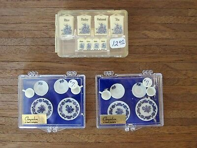 Dollhouse Miniatures Chrysnbon  Blue & White Dinnerware  and Canister Set  NIB