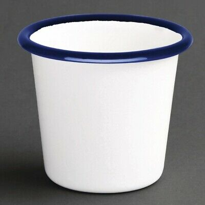 Olympia Enamel Sauce Cup White and Blue (Pack of 6) (Next working day to UK)