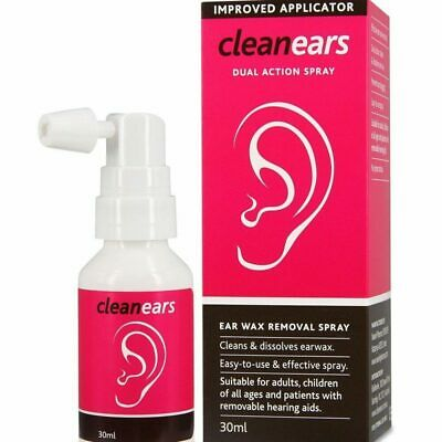 CleanEars (Clean Ears) Dual Action Spray 30mL Dissolves Earwax, For All Ages