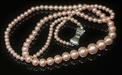 Vintage Necklace Pretty Soft Pink Graded Faux Pearls Silver Tone Bow Closure 78