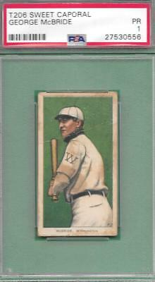 T206 GEORGE McBRIDE VINTAGE 1909-11 SWEET CAP CARD PSA POOR GRADED 1 PR BAD BACK
