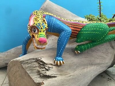 Oaxacan Carving Tiger Mx Fine Wood Carve Animals Hand Made Alebrijes Native Art