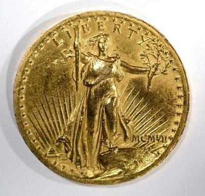 1907 $20 HIGH RELIEF ST GAUDENS GOLD Lot 328