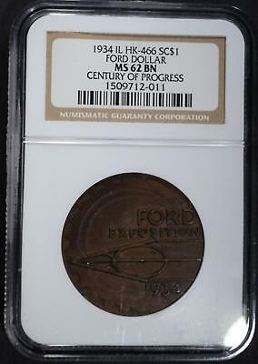 1934 IL HK-466 SO CALLED DOLLAR, NGC MS-62 BN Lot 30