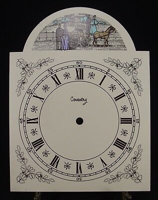 Vintage clock face METAL Dial SCREEN PRINTED ESTATE SALE carriage Coventry