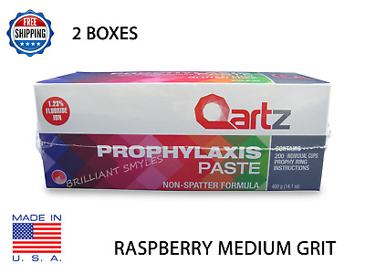 2 Boxes Qartz Prophy Paste Cups Raspberry Medium 200/box  Dental W/fluoride