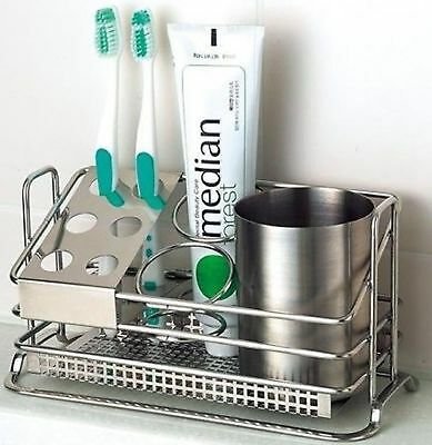 STAFIX Stainless Steel Toothbrush Holder Stands Toothpaste Cup Storage Bathroom
