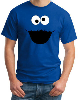 Cookie Monster Face Funny Mens Blue Costume Party Retro Fun T Shirt