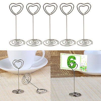 10x Crystal Heart Place Card Name Holders Table Number Decoration Wedding Us