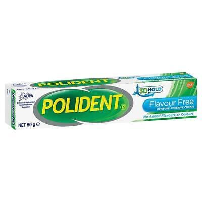 New Polident Denture Adhesive Cream Flavour Free 60g