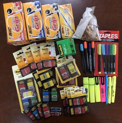 Back to School Bundle Office Supplies Lot : Post-It Flags, BIC Pens, Scotch Tape