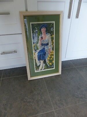 Coca Cola Framed Hand Cross-Stitched Repro of 1921 Victorian Coke Girl,BEAUTIFUL
