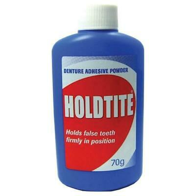 New Holdtite Denture Adhesive Powder 70g Holds False Teeth Firmly In Position