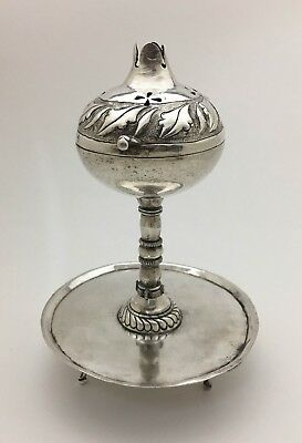 Mexican Spanish Colonial Pomegranate Silver Table Incense Burner Spice Container