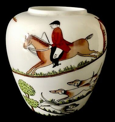 Crown Staffordshire Fine Bone China England  Hunting Scene Vase
