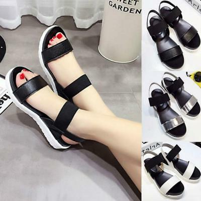 Womens Open Toe  Sandals Lady Casual Flat Platform Ankle Strap Shoes B
