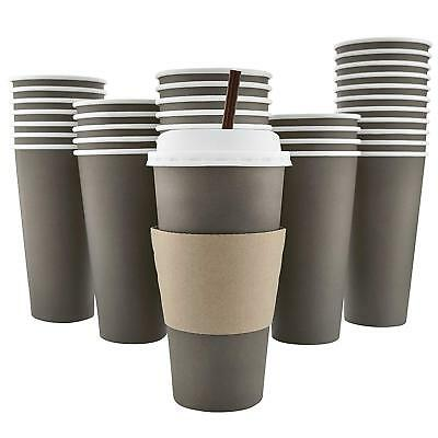 100 Pack - 20 Oz [8, 12, 16] Disposable Hot Paper Coffee Cups, Lids, Sleeves, To