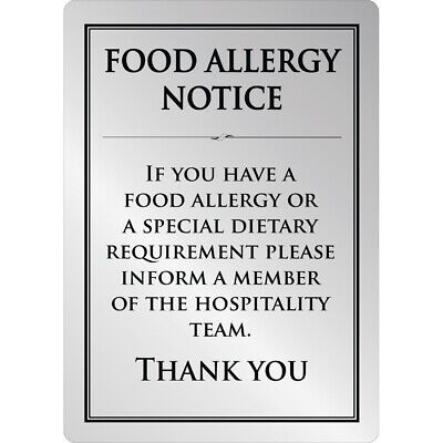 Brushed Steel Food allergy sign A4 (Next working day UK Delivery)