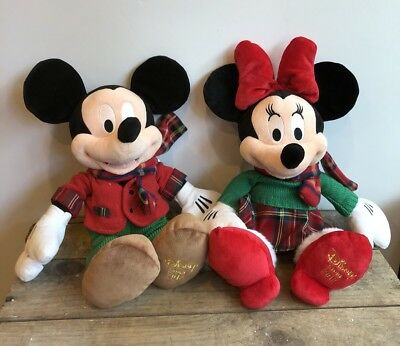 "NEW! Set Of Mickey Minnie Disney Store 2012 Christmas Plush 18"" Plaid Holiday"