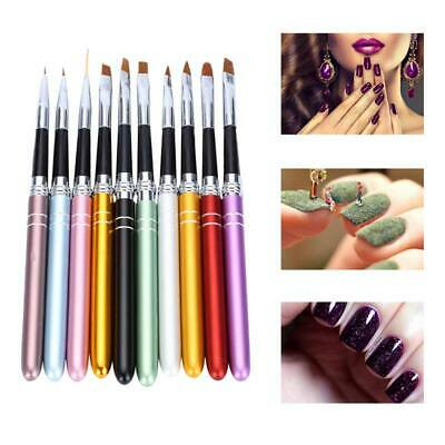 10pcs/set Nail Art Brush UV Gel Creative Painting Drawing Pens Manicure Tools UK