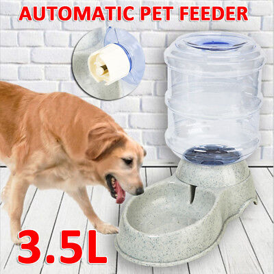 Large Automatic Pet Dog Cat Water Feeder Bowl Bottle Dispenser Plastic 3.5Liters