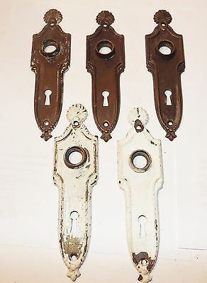 Lot of 5 Antique Ornate Door Escutchens W / Key Hole