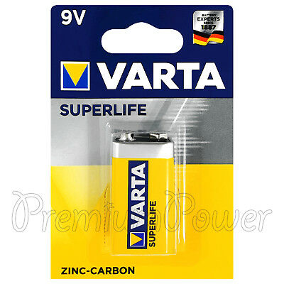 1 x Varta 9V SuperLife battery Zinc Carbon E-Block 2022 6F22 for Clocks Remote