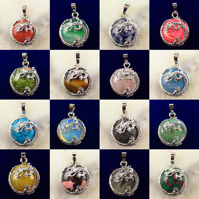 Kraft-beads Silver Plated Chinese Dragon Wrap Mixed Stone Half Ball Bead YP9