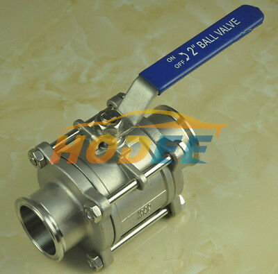 """2 """" / 51MM Sanitary stainless steel 3 Piece ball valve SS304 Triclamp"""