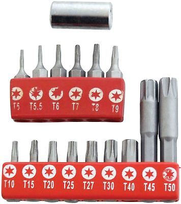 16Pc TORX BIT SET Inc Drive Adaptor - Security Tamperproof T10-T50 Star T5-T9