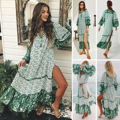 AU Summer Womens Floral Boho Long Dress Evening Party V Neck Maxi Dress Sundress