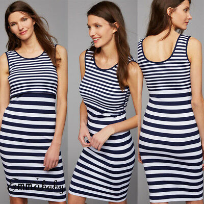 AU Maternity Pregnant Women Strip Sleeveless Clothes Nursing Breastfeeding Dress